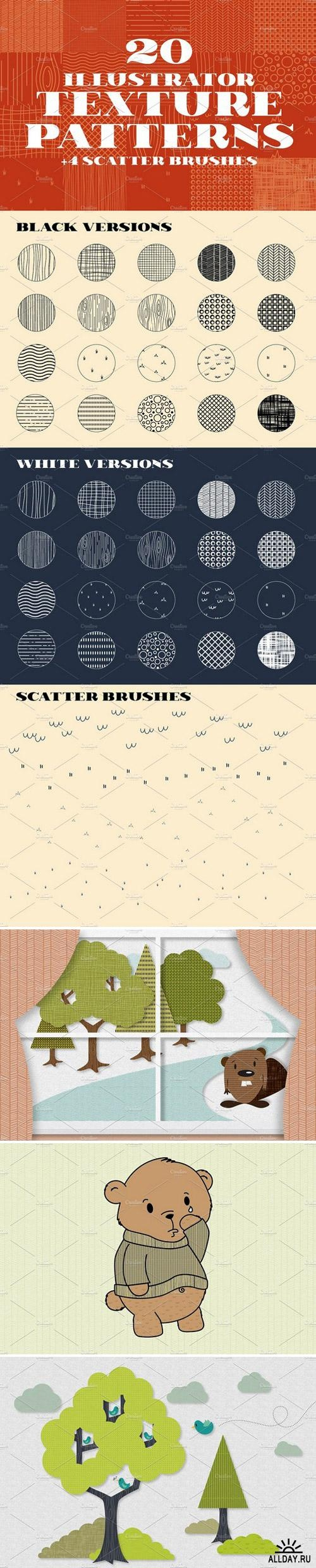 20 Illustrator Texture Patterns ((eps ((ai (7 files)