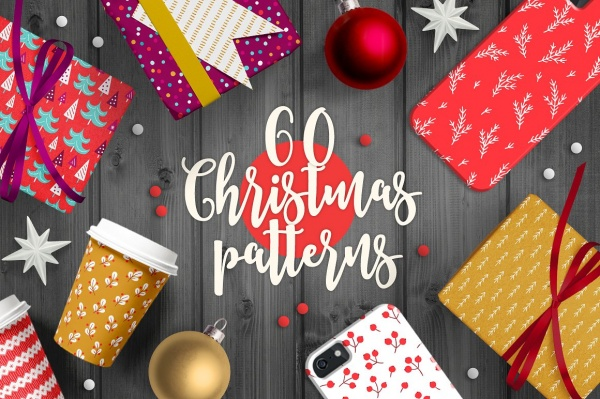 60 Christmas Seamless Patterns ((eps (126 files)