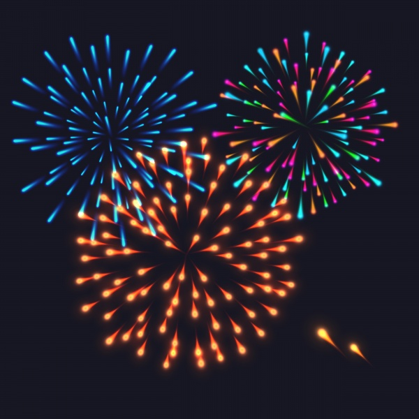 Abstract colorful fireworks explosion on dark vector background ((eps (38 files)