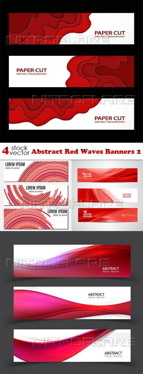 Abstract Red Waves Banners 2 ((aitff (9 files)