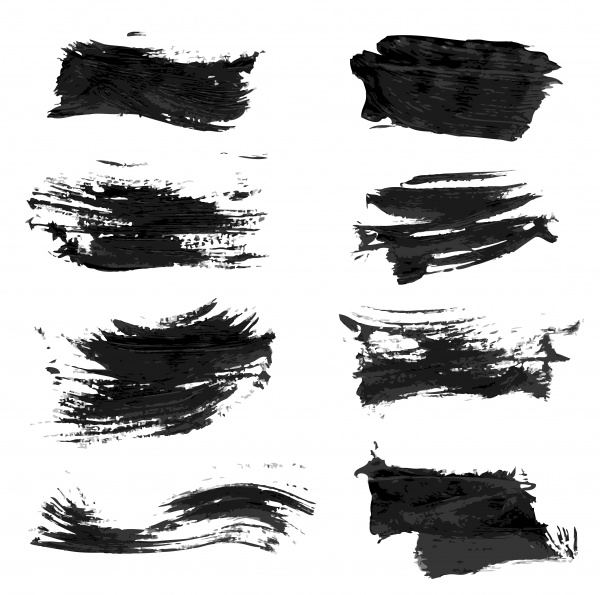 Abstract textured strokes and prints black gouache paint ((eps (26 files)
