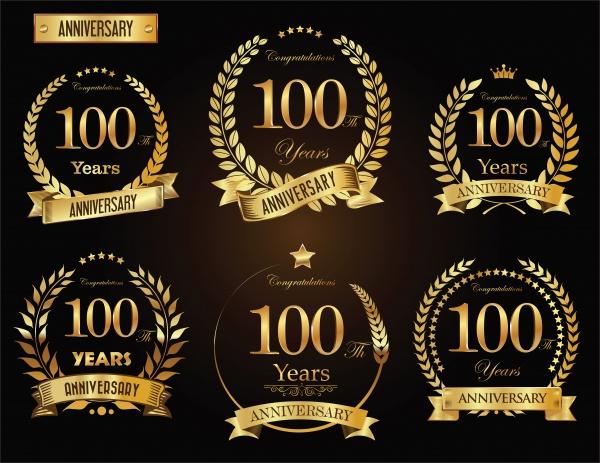 Anniversary golden laurel wreath years vector collection ((eps (48 files)