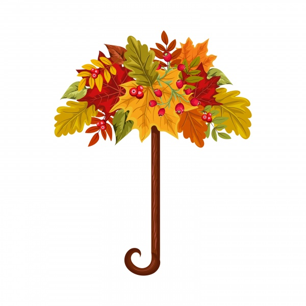 Autumn banner with leaves and berries, vector colorful background for greeting card ((eps (18 files)