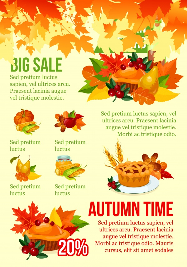 Autumn sale vector banner with fall harvest vegetable, fruit and leaf frame ((eps (24 files)