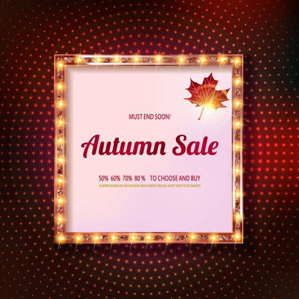 Autumn vector banner discounts, golden vintage frame on the background of the curtain ((eps (18 files)