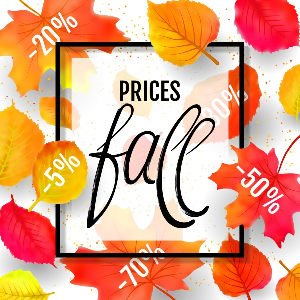Autumn vector sale background with colorful autumn leaves and a rowan on marble backdrop ((eps (24 files)