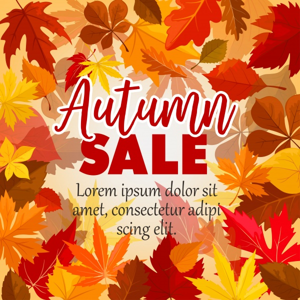 Autumn vector sale poster for seasonal shopping ((eps (24 files)