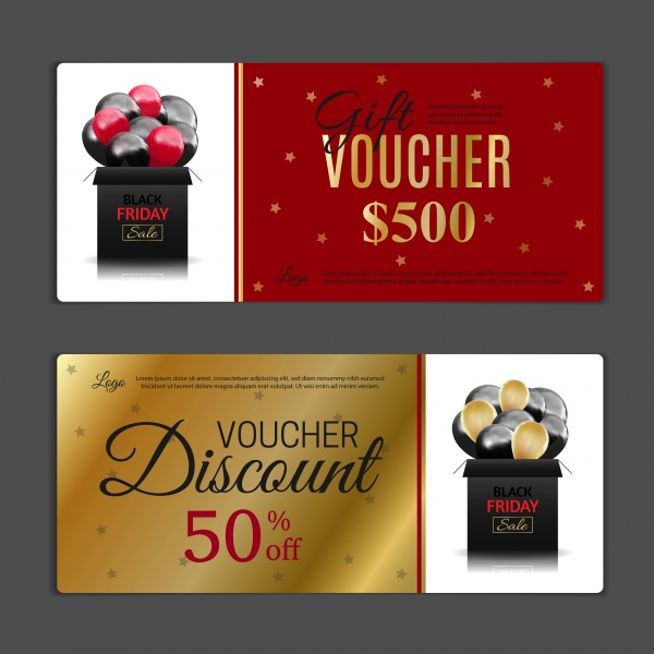 Black Friday gift voucher vector template, discount coupon, discount background ((eps (30 files)