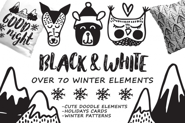 Black White winter - hand drawn set ((eps (111 files)