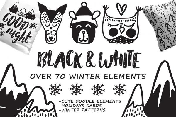 Black White winter - hand drawn set ((eps (111 files)
