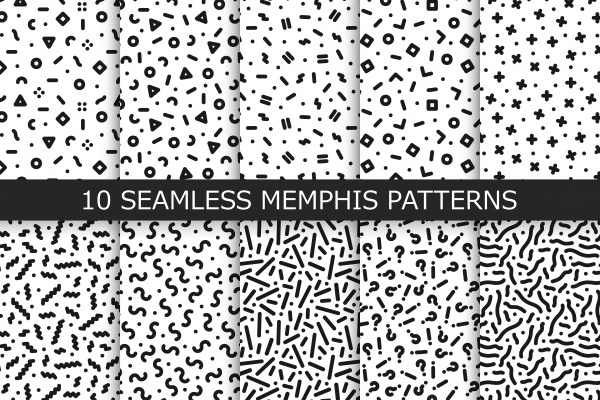 Bundle of Memphis seamless patterns ((png ((eps (54 files)