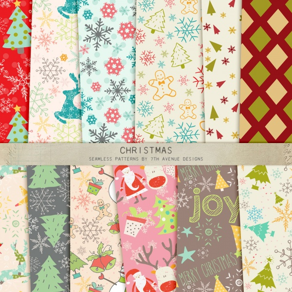 Christmas Seamless Patterns ((eps ((png (96 files)