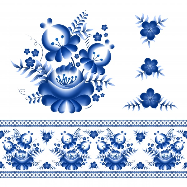 Classic russian gzhel ornament and vector floral elements ((eps (14 files)