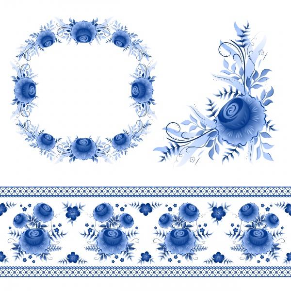 Classic russian gzhel vector ornament motif 4 ((eps (24 files)