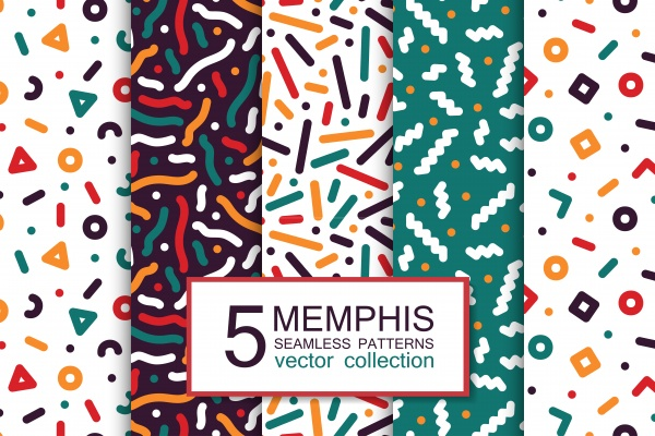 Colorful seamless memphis patterns ((png ((ai (29 files)