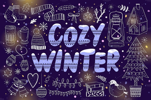 Cozy Winter Illustrations + Patterns ((eps ((jpg (144 files)