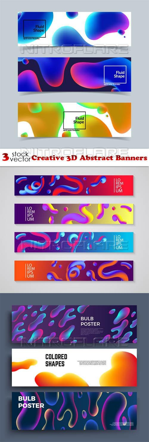 Creative 3D Abstract Banners ((aitff (6 files)