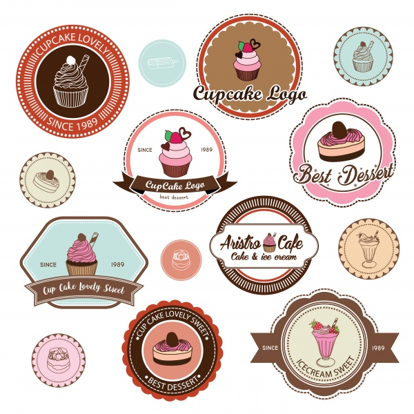 Cupcake vector label and logo illustration ((eps (50 files)