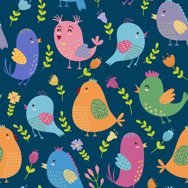 Cute Birdies patterns and clipart ((eps ((ai ((png (25 files)