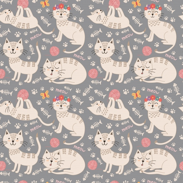 Cute cats seamless patterns ((eps ((png ((ai (20 files)