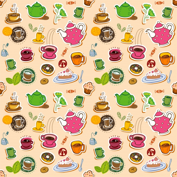 Cute retro coffee and tea seamless pattern with teapots, cups, entertainments and sweets ((eps (24 files)