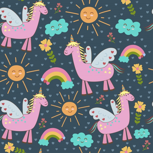 Cute Unicorns seamless patterns ((eps ((ai (9 files)
