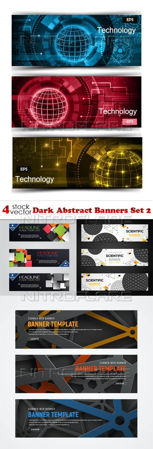 Dark Abstract Banners Set 2 ((aitff (9 files)