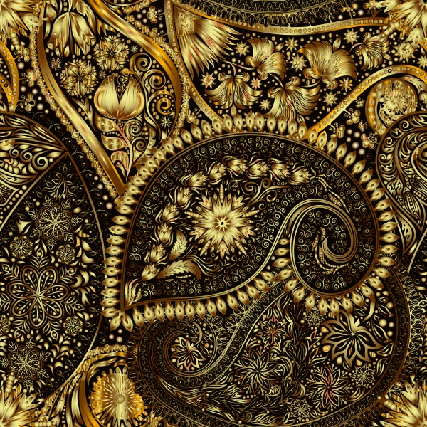 Elegant vector seamless lace pattern, gold floral seamless pattern in traditional russian style ((eps (18 files)