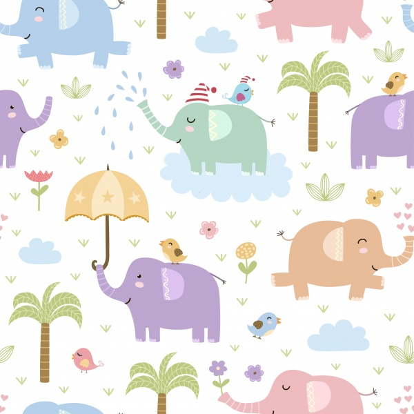 Elephants seamless patterns and clipart ((eps ((ai (36 files)