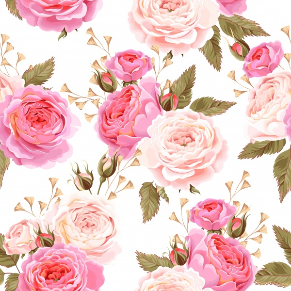 English roses and birds seamless ((eps (50 files)