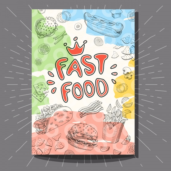 Fastfood colorful modern vector banners set ((eps (24 files)