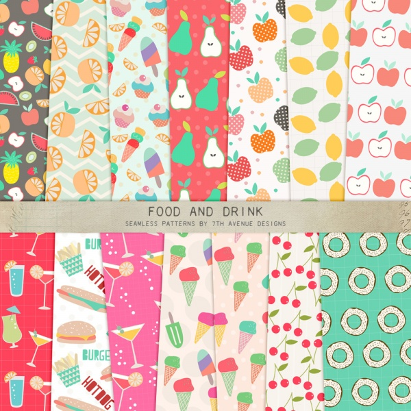 Food and Drink Seamless Patterns ((eps ((png ((ai (93 files)