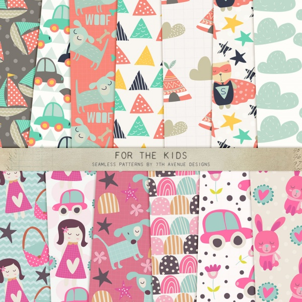For the Kids Seamless Patterns ((eps ((png (93 files)