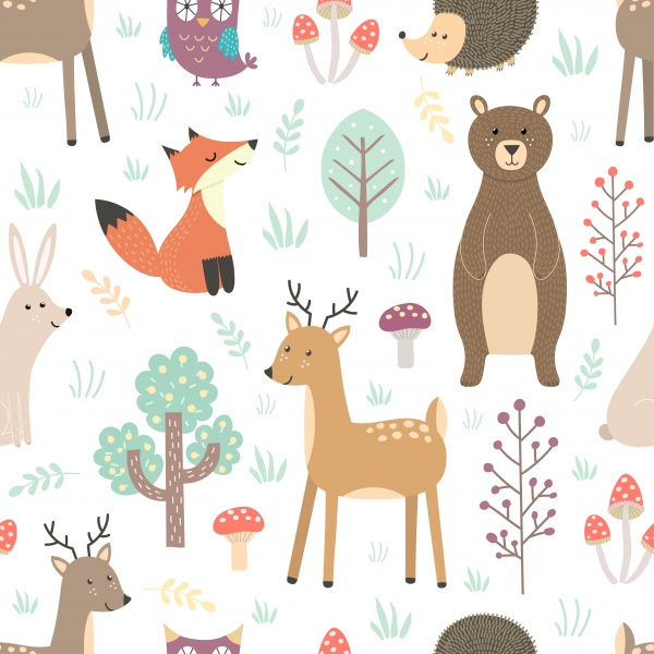 Forest. Seamless pattern and elements ((eps ((ai ((png (26 files)