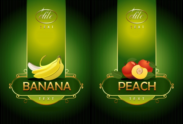 Fruits. Banana, peach ((eps (26 files)