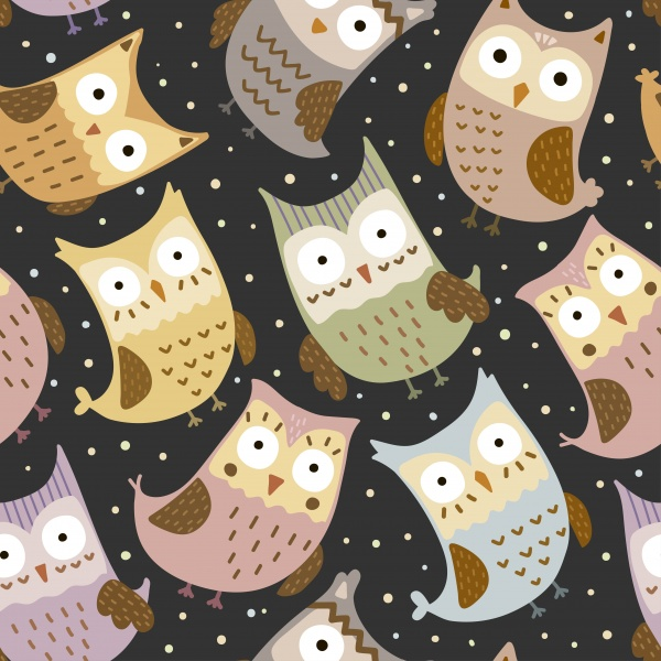 Funny Owls 4 seamless patterns ((eps ((png ((ai (16 files)