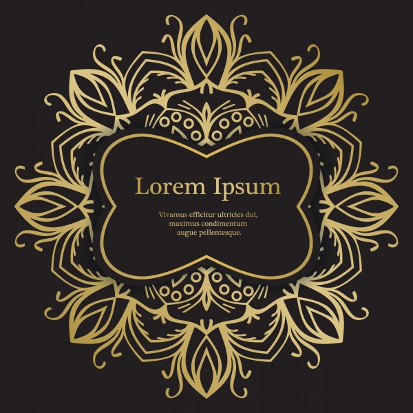 Gold and black invitation vector template, mandala background ((eps (32 files)
