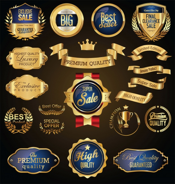 Golden retro sale badges and vector labels collection ((ai (38 files)