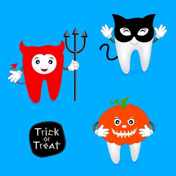 Halloween concept of teeth character set ((eps (20 files)