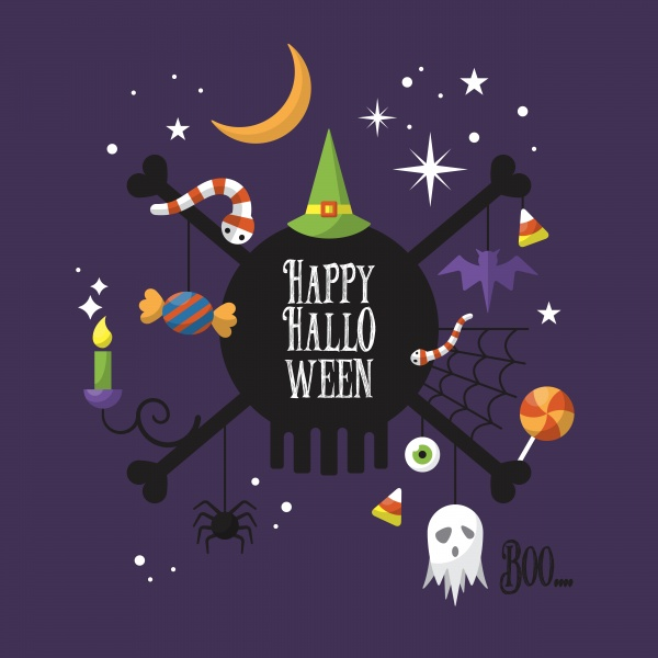 Halloween greeting card set for web and graphic design ((eps (16 files)