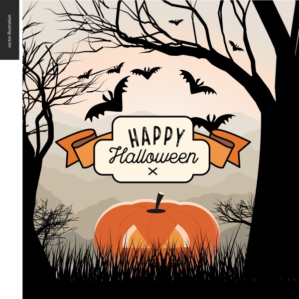 Halloween greeting card with lettering ((eps (50 files)
