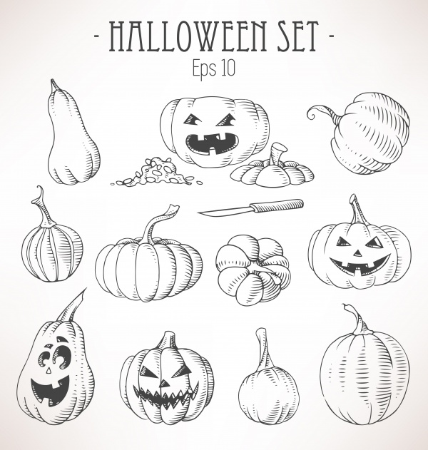 Halloween pumpkins 2 ((eps (28 files)