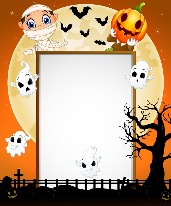 Halloween sign with little girl witch and little boy ((eps (26 files)