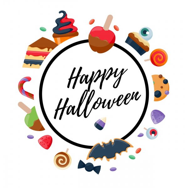 Halloween sweets colorful party background ((eps (16 files)