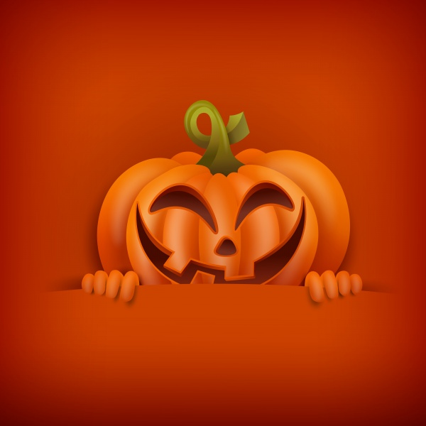 Happy Halloween concept card with pumpkin holding ((eps (44 files)