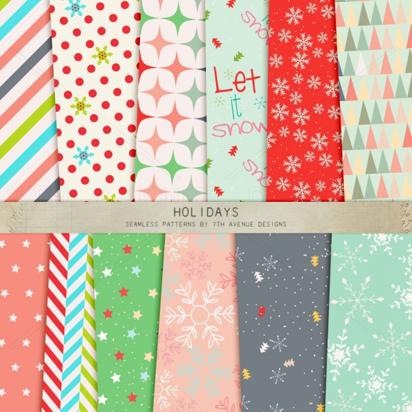 Holidays Seamless Patterns ((eps ((png (93 files)