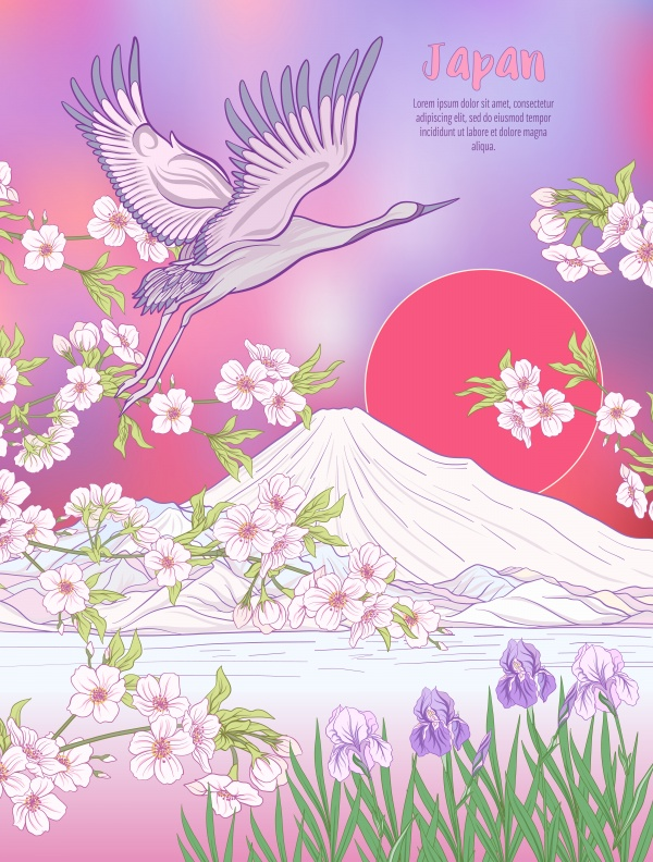 Japanese vector landscape with mount Fuji, sea, japanese woman in a kimono and tradition flowers and a bird ((eps (18 files)
