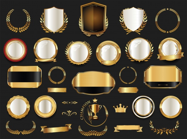 Luxury gold and silver vector labels, retro vintage collection ((eps (32 files)