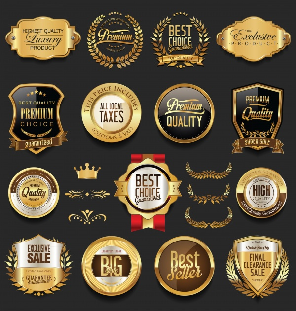 Luxury retro badges gold and silver vector collection ((eps (30 files)