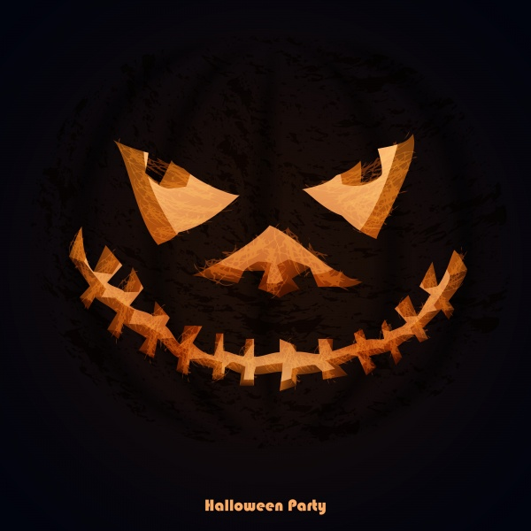 Set of scary Halloween pumpkins for party invitations ((eps (36 files)